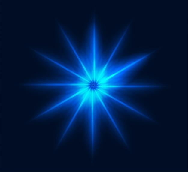 Blauer strahlungsvektor des neonsternblitzes, der geometrisches burstmuster glüht, transparent