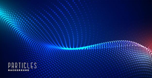 Blauer technologiehintergrund der glühenden digitalen partikel