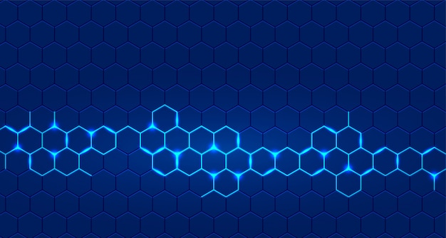 Blauer technologiehintergrund mit dem sechseckigen glühen