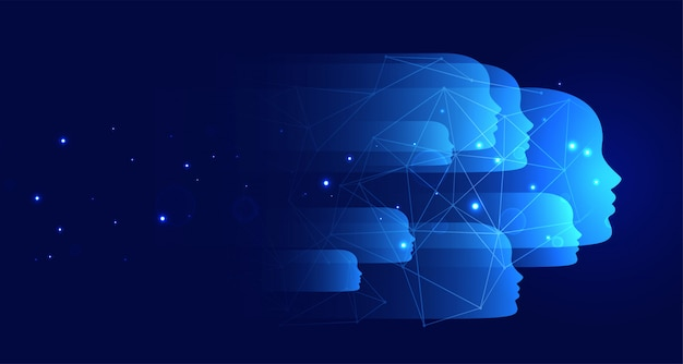 Blauer technologiehintergrund mit vielen gesichtern