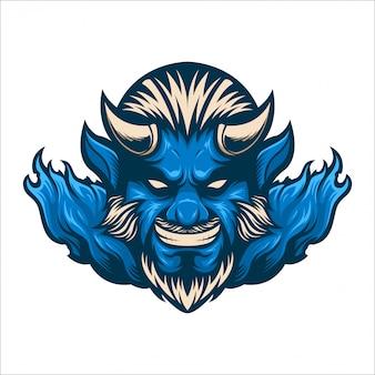 Blauer teufel des maskottchen-logos