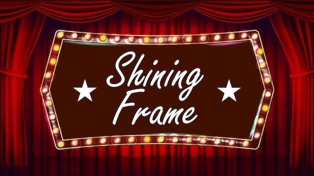 Blauer theater-vorhang mit goldrahmen-vektor. blauer hintergrund und glühlampenrahmen. realistische retro design board
