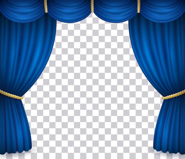 Blauer theaterbühnenvorhang mit vorhang lokalisiert auf transparentem hintergrund