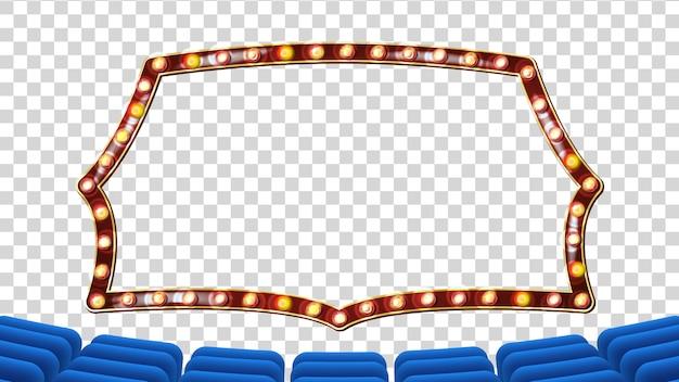 Blauer theatervorhang mit hellem rahmen