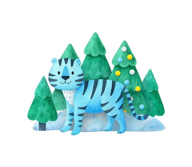Blauer tiger. neujahrskomposition 2022. zeichnungen für einen weihnachtsdruck. eine tigerin im wald