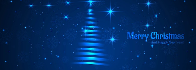 Blauer titel-schablonenvektor des glänzenden baums der frohen weihnachten