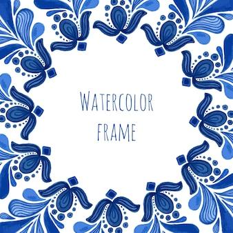 Blauer traditioneller blumenrahmen in russischer gzhel art oder in holland-art.