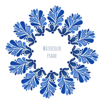 Blauer traditioneller runder mit blumenrahmen in russischer gzhel art oder holland-art