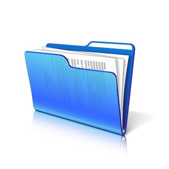 Blauer transparenter ordner mit papieren. dokumentsymbol. illustration.