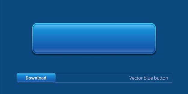 Blauer trendiger button für website, app und ui. konzeptelement für das webdesign. moderne knopfvorlage.