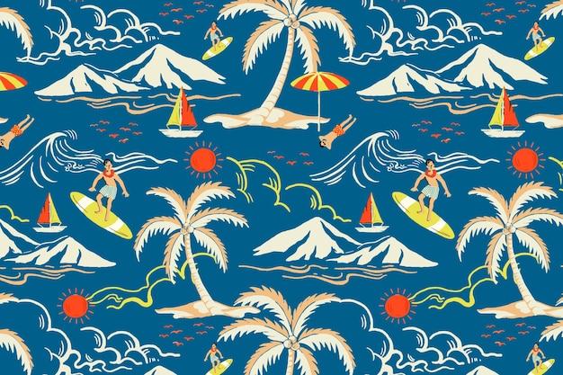 Blauer tropischer inselmustervektor mit touristischer karikaturillustration