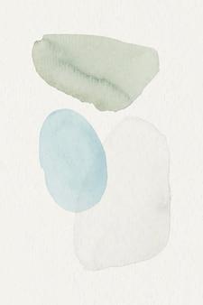 Blauer und grüner aquarell gemusterter hintergrundschablonenvektor