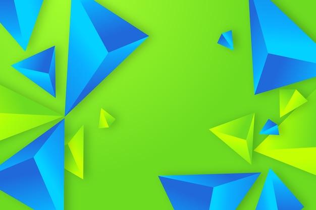 Blauer und grüner hintergrund des dreiecks 3d