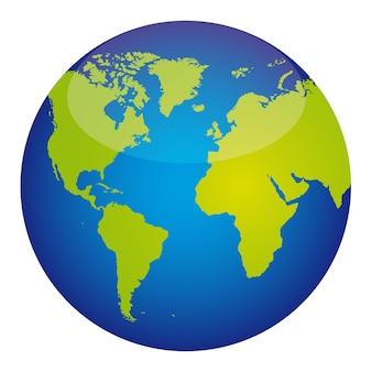 Blauer und grüner planet mit transparenzvektorillustration