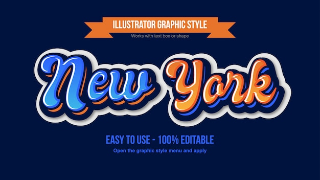 Blauer und orange moderner abgerundeter kalligraphischer bearbeitbarer schrifteffekt