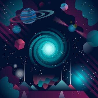 Blauer und purpurroter universumphantasiehintergrund