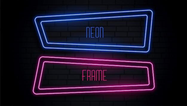 Blauer und rosa neonrahmen mit copyspace