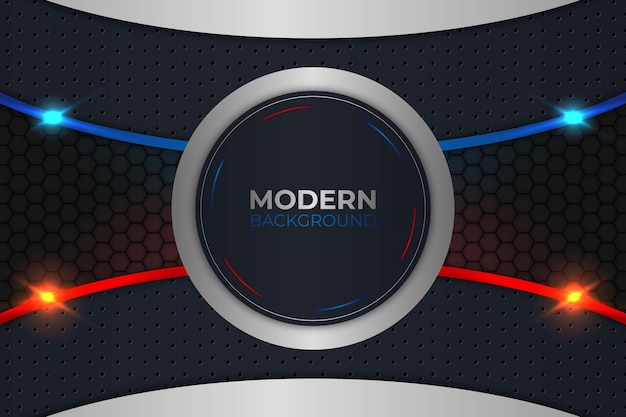 Blauer und roter hintergrund des modernen kreises