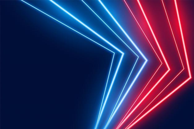 Blauer und roter neon-led-lichtlinien-hintergrund