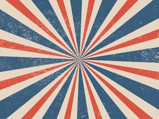 Blauer und roter patriotischer retro-burst-hintergrund