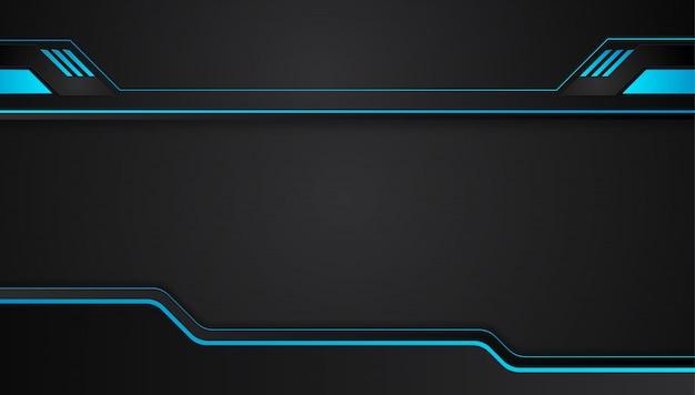 Blauer und schwarzer abstrakter metallischer designtechnologieinnovations-konzepthintergrund.