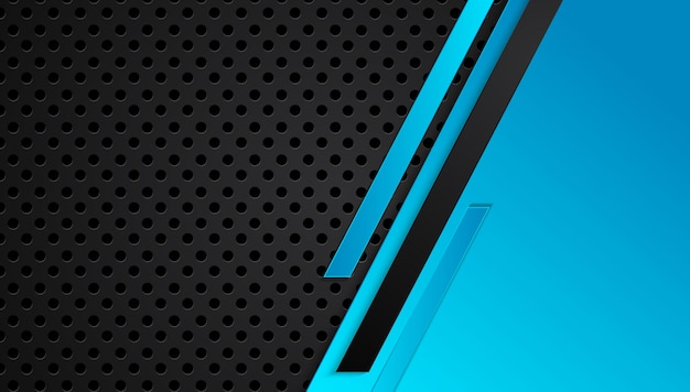 Blauer und schwarzer abstrakter metallischer rahmenplan-designtechnologieinnovations-konzepthintergrund
