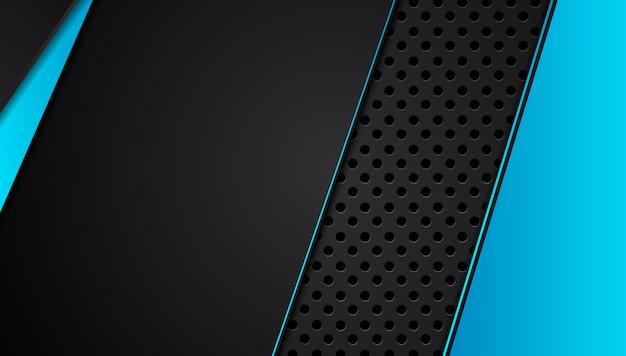 Blauer und schwarzer abstrakter metallischer rahmenplan-technologie-innovationshintergrund. .