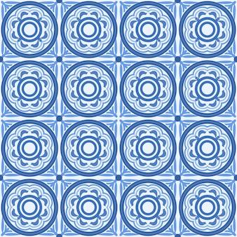 Blauer und weißer damastblumen-nahtloser musterhintergrund.