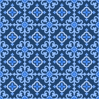 Blauer und weißer damastblumenhintergrund.