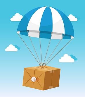 Blauer und weißer fallschirm, der lieferung pappkarton auf hellblauem himmelhintergrund hält