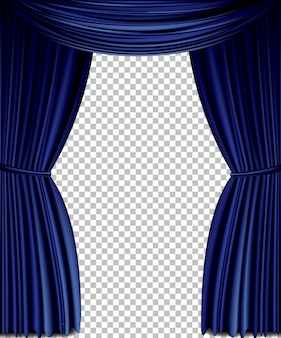 Blauer vektor vorhang
