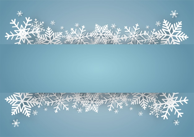 Blauer vektorhintergrund des weihnachten und des guten rutsch ins neue jahr mit schneeflocke