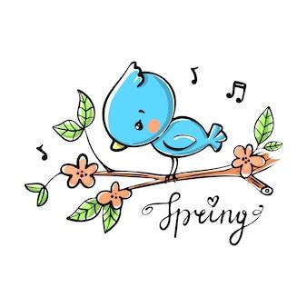 Blauer vogel auf einem ast mit schriftzug