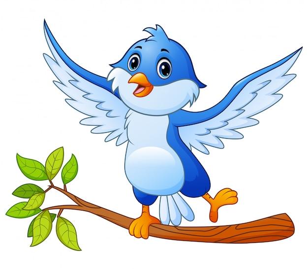 Blauer vogel der karikatur, der auf baumast und der aufstellung steht
