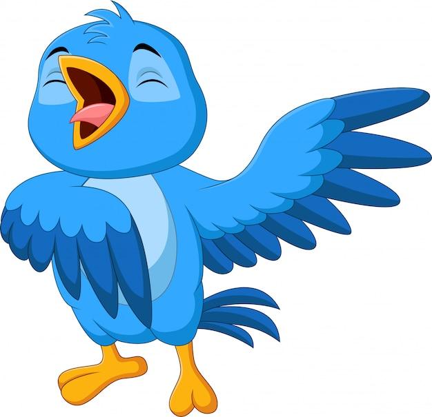 Blauer vogel der karikatur, der auf weißem hintergrund singt