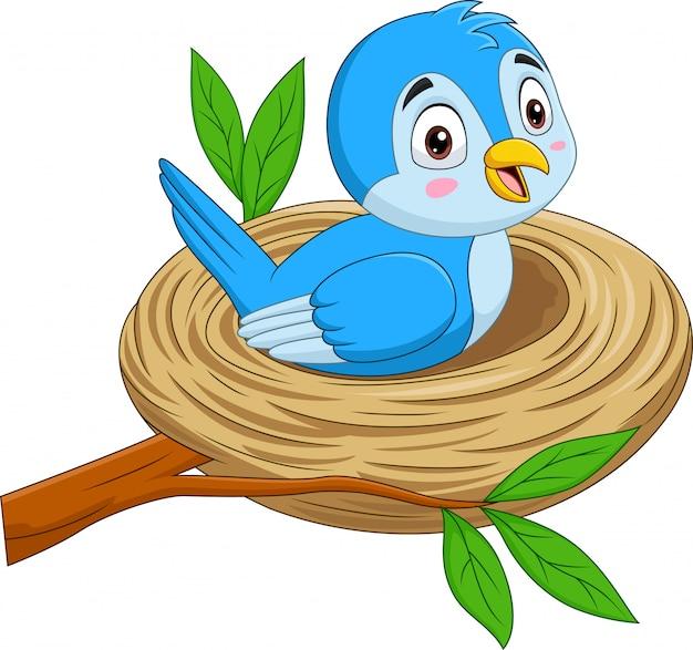Blauer vogel der karikatur, der in einem nest sitzt