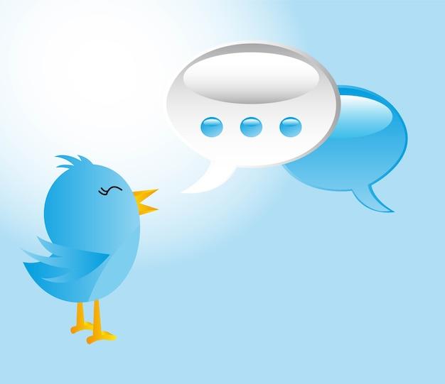 Blauer vogel mit gedankenblasenkommunikations-vektorillustration