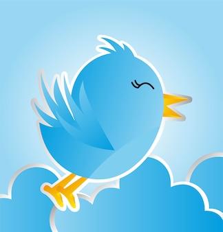 Blauer vogel mit wolken über blauer hintergrundvektorillustration