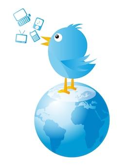 Blauer vogel über planeten mit ikonen vector illustration
