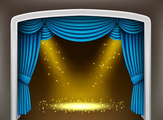 Blauer vorhang des klassischen theaters