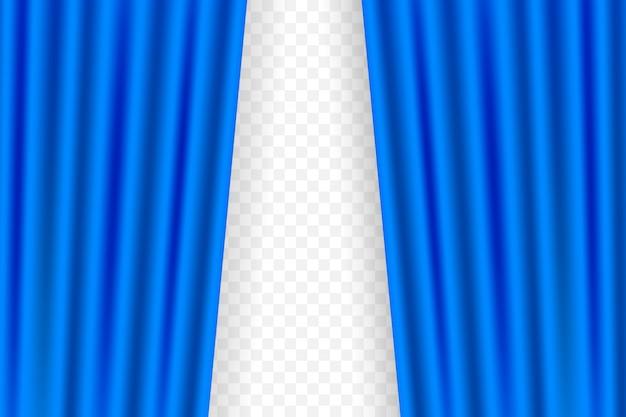 Blauer vorhang für opern-, kino- oder theatervorhänge. illustration.