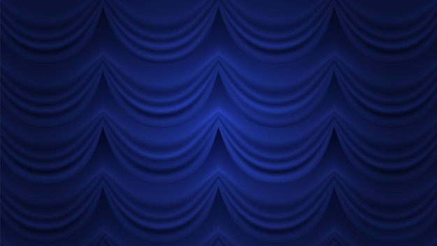 Blauer vorhang. geschlossener vorhanghintergrund. blauer vorhang für theaterzirkushalle bühne.