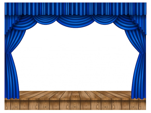 Blauer vorhang und holzbühne
