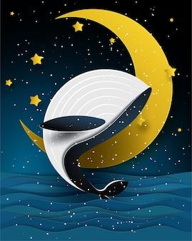Blauer wal und mond auf schönem meerblick in der nachtzeit, in der papierkunst und in der handwerksart.
