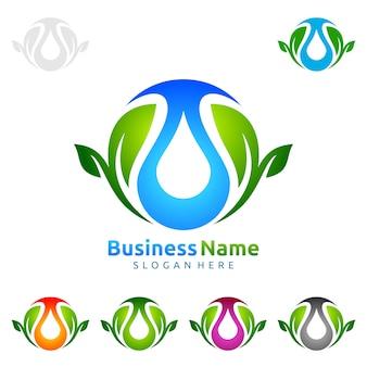 Blauer wasser-tropfen mit grünem blatt-ökologie-vektor-logo design