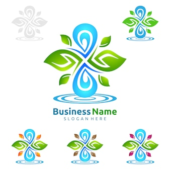 Blauer wasser-tropfen mit grünen blatt-ökologie-vektor-logo design