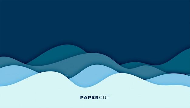 Blauer wasserwellenhintergrund im papierschnittstil