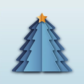 Blauer weihnachtsbaum im papierstil