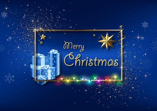 Blauer weihnachtsgruß mit goldenem rahmen und glitzer und bunten weihnachtslichtern