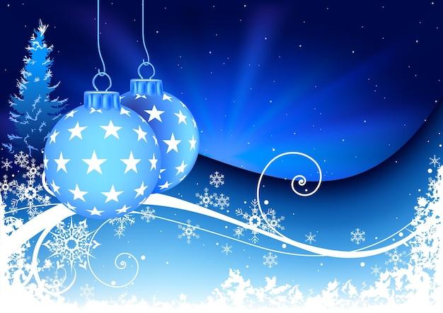 Blauer weihnachtshintergrund mit hängenden kugeln